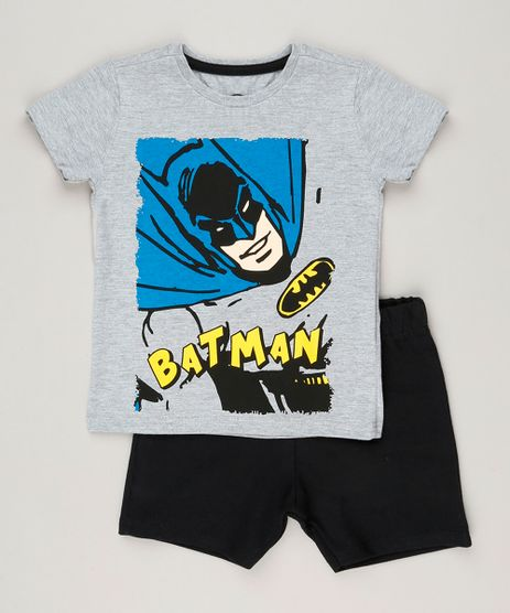 Conjunto-Infantil-de-Camiseta-Batman-Manga-Curta-Cinza-Mescla---Bermuda-em-Moletom-Preta-9225325-Preto_1
