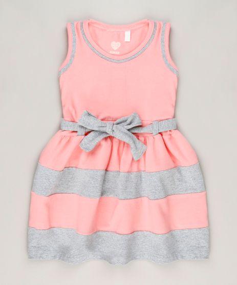 Vestido-Infantil-com-Laco-Sem-Manga-Decote-Redondo-em-Algodao---Sustentavel-Rosa-9236121-Rosa_1