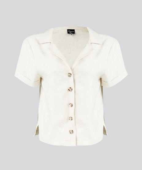 Camisa-Feminina-Cropped-Manga-Curta-com-Linho-Bege-9274485-Bege_2