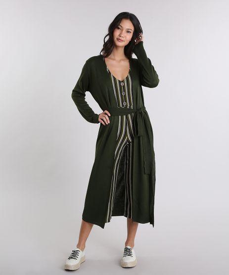 Cardigan-Feminino-Longo-em-Tricot-com-Faixa-de-Amarrar-Verde-Militar-9274487-Verde_Militar_1