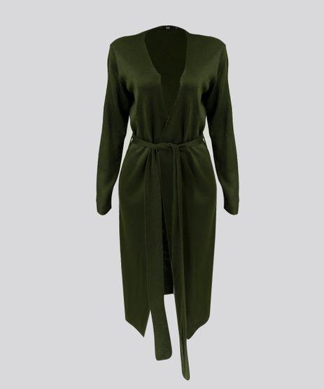 Cardigan-Feminino-Longo-em-Tricot-com-Faixa-de-Amarrar-Verde-Militar-9274487-Verde_Militar_2