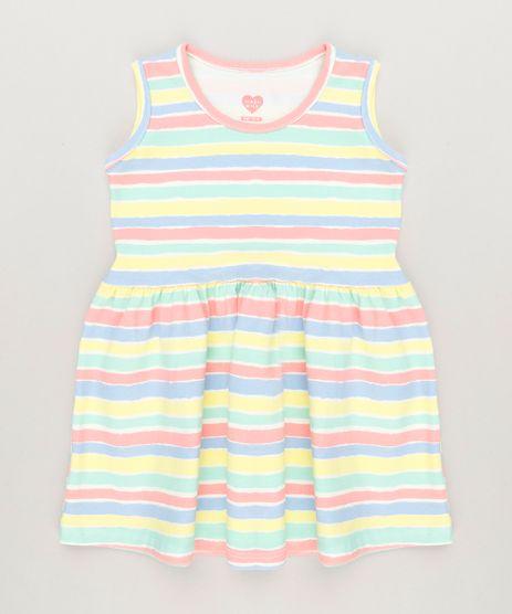 Vestido-Infantil-Listrado-Sem-Manga-Decote-Redondo-em-Algodao---Sustentavel-Amarelo-9235607-Amarelo_1