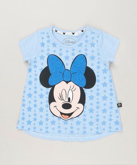 Blusa-Infantil-Minnie-com-Glitter-Manga-Curta-Decote-Redondo-em-Algodao---Sustentavel-Azul-Claro-9222891-Azul_Claro_1