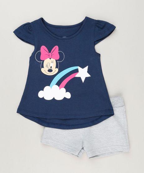 Conjunto-Infantil-de-Blusa-Minnie-Manga-Curta-Azul-Marinho---Short-em-Moletom-Cinza-Mescla-9230520-Cinza_Mescla_1