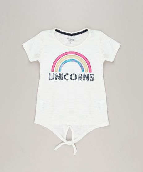 Camiseta-Infantil--Unicorns--com-Paetes-e-No-Manga-Curta-Decote-Redondo-em-Algodao---Sustentavel-Off-White-9245400-Off_White_1