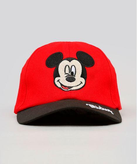 Boné Infantil Mickey com Bordado Aba Curva Vermelho - cea 665ae8d3eab