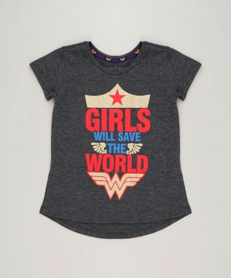 Blusa-Infantil-Mulher-Maravilha--Girls-Will-Save-The-World--com-Glitter-Manga-Curta-Decote-Redondo-Cinza-Mescla-Escuro-9230149-Cinza_Mescla_Escuro_1