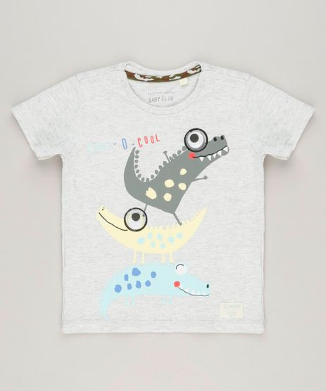 Camiseta-Infantil-com-Estampa-Interativa-de-Dinossauros-Manga-Curta-Gola-Careca-Cinza-Mescla-Claro-9225889-Cinza_Mescla_Claro_1