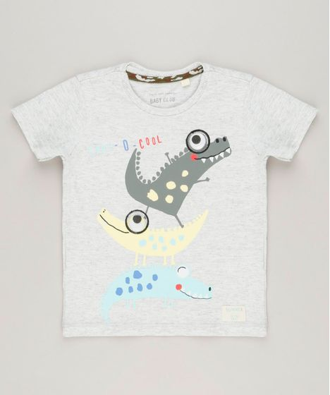 440549234 Camiseta Infantil com Estampa Interativa de Dinossauros Manga Curta ...
