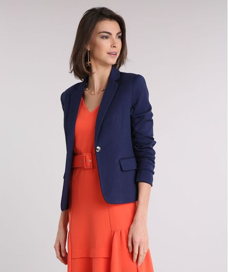 a6651bf9f3 Blazer feminino acinturado com bolsos azul marinho cea jpg 468x560 Feminino  acinturado