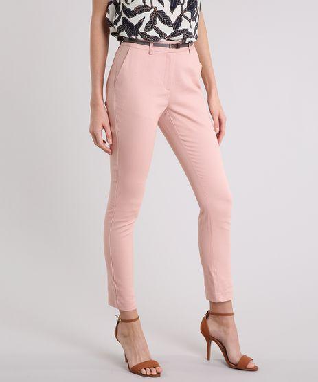 Calca-Feminina-Skinny-em-Piquet-com-Cinto-Rose-8654154-Rose_1