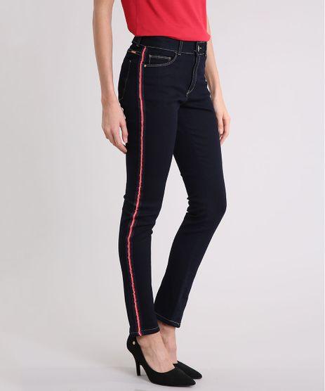 Calca-Jeans-Feminina-Skinny-Cintura-Alta-com-Faixa-Lateral--Azul-Escuro-9201315-Azul_Escuro_1