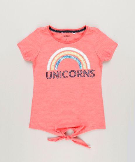 Camiseta-Infantil--Unicorns--com-Paetes-e-No-Manga-Curta-Decote-Redondo-em-Algodao---Sustentavel-Coral-9245400-Coral_1