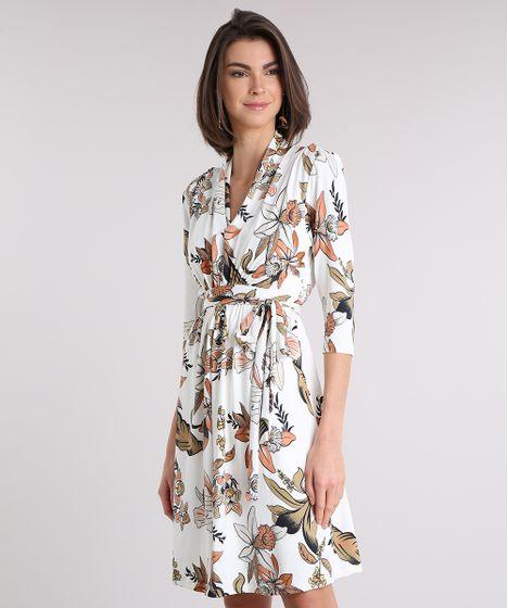 d181a1ca1 Vestido Feminino Estampado Floral Curto Decote V Off White - cea