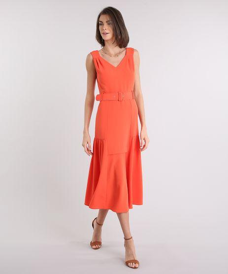 Vestido-Feminino-Midi-com-Cinto-Decote-V-Laranja-9087177-Laranja_1