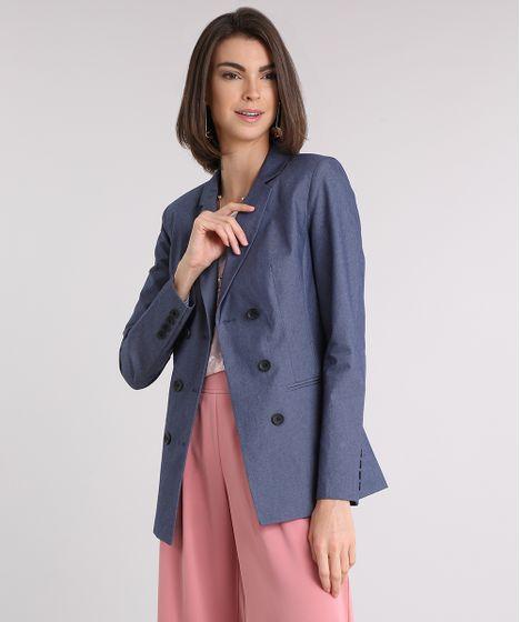 8f939d818a Blazer-Jeans-Feminino-Acinturado-Transpassado-Azul-Escuro-9089096- ...