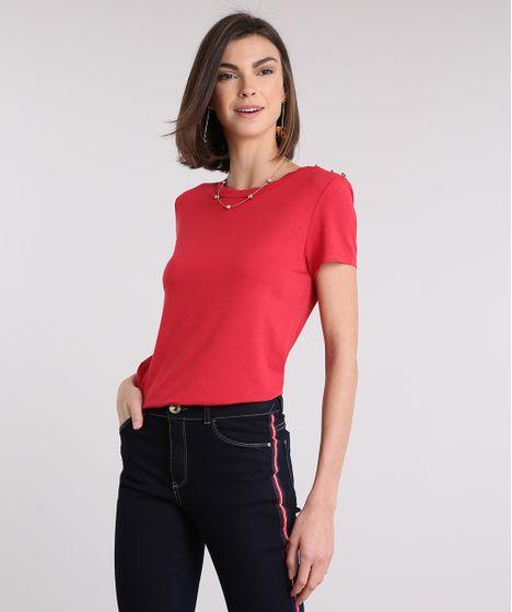 6f04872e96 Blusa Feminina com Botões Manga Curta Decote Redondo Vermelha - cea