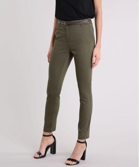 5104d2b12 Calça Feminina Skinny em Piquet com Cinto Verde Militar - cea
