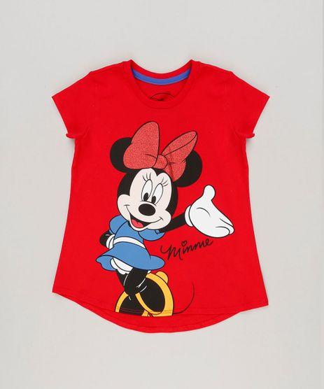 Blusa-Infantil-Minnie-com-Glitter-Manga-Curta-Decote-Redondo-em-Algodao---Sustentavel-Vermelha-9230153-Vermelho_1
