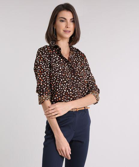 Camisa-Feminina-Estampada-Manga-Longa-Marrom-9079188-Marrom_1
