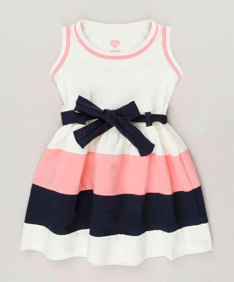 Vestido-Infantil-com-Laco-Sem-Manga-Decote-Redondo-em-Algodao---Sustentavel-Off-White-9236122-Off_White_1