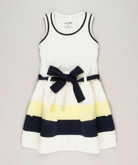 Vestido-Infantil-com-Laco-Sem-Manga-Decote-Redondo-em-Algodao---Sustentavel-Off-White-9222069-Off_White_1