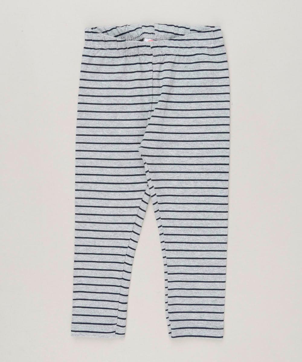 Calça Legging Infantil Listrada em Algodão + Sustentável Cinza Mescla