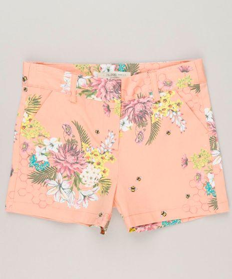 Short-Infantil-Estampado-Floral-com-Bolsos-Coral-9115645-Coral_1