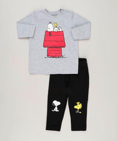 Conjunto-Infantil-de-Camiseta-Manga-Longa-Cinza-Mescla---Calca-Snoopy--Preta-9242524-Preto_1