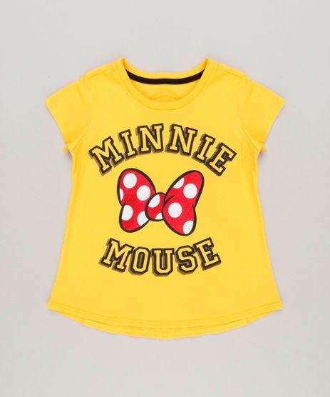 Blusa-Infantil-Minnie-Manga-Curta-Decote-Redondo-em-Algodao---Sustentavel-Amarela-9230148-Amarelo_1