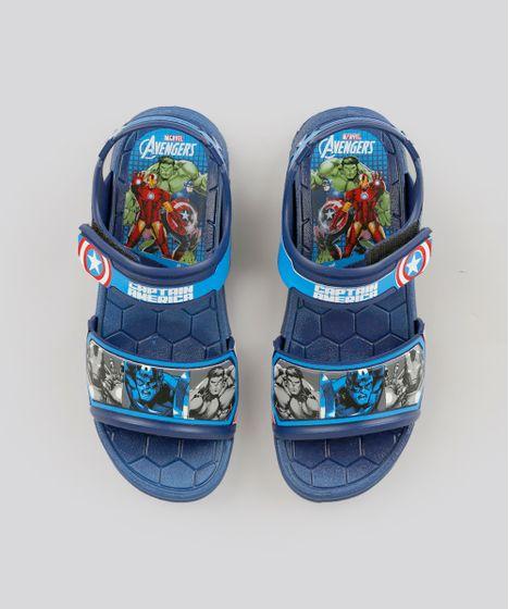 834cd879cd Sandália Papete Infantil Grendene Capitão América Os Vingadores Azul ...