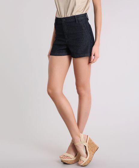Short-Jeans-Feminino-Reto-Alto-com-Bolsos-Azul-Escuro-9209334-Azul_Escuro_1