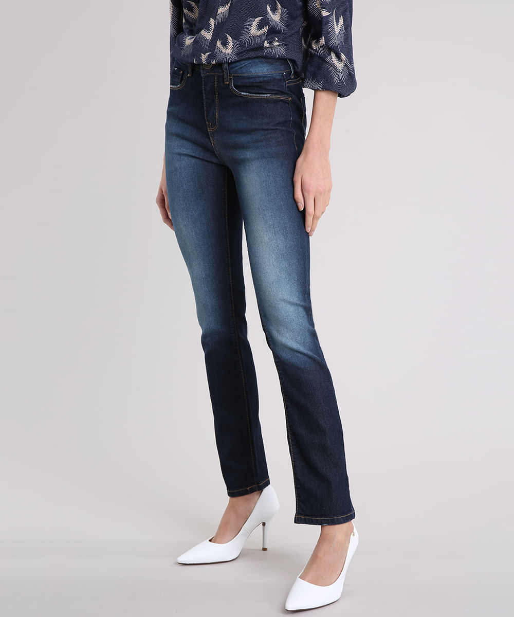 708cd5cd5 Calça Jeans Feminina Reta Cintura Alta Azul Escuro - cea