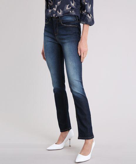 Calca-Jeans-Feminina-Reta-Cintura-Alta-Azul-Escuro-9231001-Azul_Escuro_1