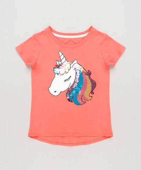 Blusa-Infantil-Unicornio-com-Paete-Dupla-Face-Manga-Curta-Decote-Redondo-em-Algodao---Sustentavel--Coral-9131094-Coral_1