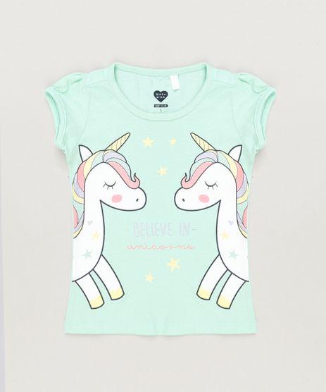 Blusa-Infantil-Unicornios-com-Glitter-Manga-Curta-Decote-Redondo-em-Algodao---Sustentavel-Verde-Claro-9220797-Verde_Claro_1