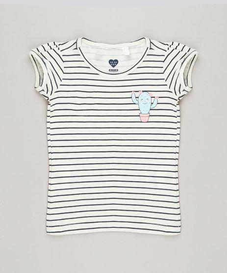 Blusa-Infantil-Listrada-com-Cacto-Manga-Curta-Decote-Redondo-em-Algodao---Sustentavel-Off-White-9220801-Off_White_1
