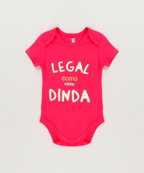 Body-Infantil--Legal-Como-a-Minha-Dinda--Manga-Curta-com-Decote-Redondo-em-Algodao---Sustentavel-Rosa-Escuro-8930716-Rosa_Escuro_1