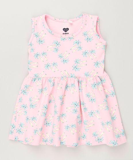 Vestido-Infantil-Estampado-de-Coqueiros-Sem-Manga-Decote-Redondo-em-Algodao---Sustentavel-Rosa-9235605-Rosa_1