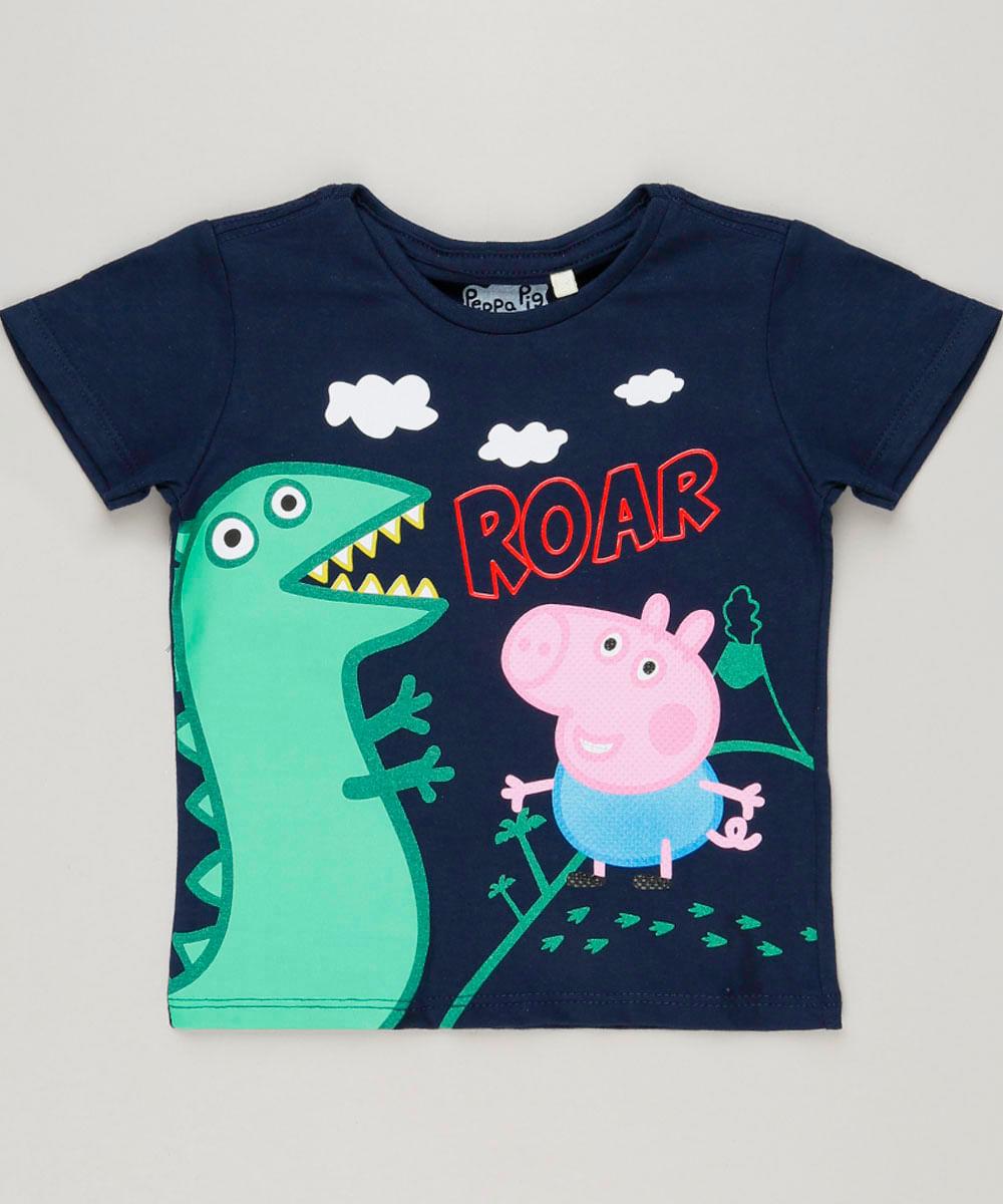 8cc7f8a5ce535 Camiseta Infantil George Pig Manga Curta Gola Careca Azul Marinho - cea