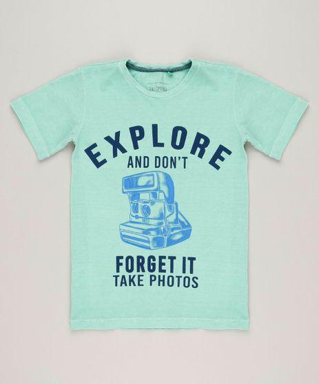 Camiseta-Infantil-Camera-Manga-Curta-Gola-Careca-em-Algodao---Sustentavel-Verde-Claro-9242463-Verde_Claro_1