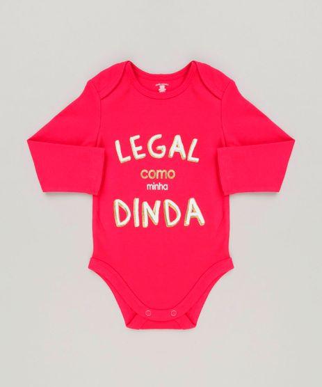 Body-Infantil--Legal-Como-a-Minha-Dinda--Manga-Longa-com-Decote-Redondo-em-Algodao---Sustentavel-Rosa-Escuro-8930744-Rosa_Escuro_1