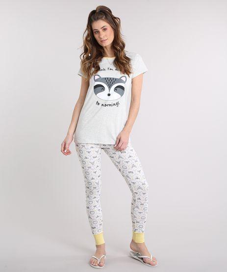 Pijama-Feminino-Estampado-de-Bichos-Manga-Curta-Cinza-Mescla-9219319-Cinza_Mescla_1