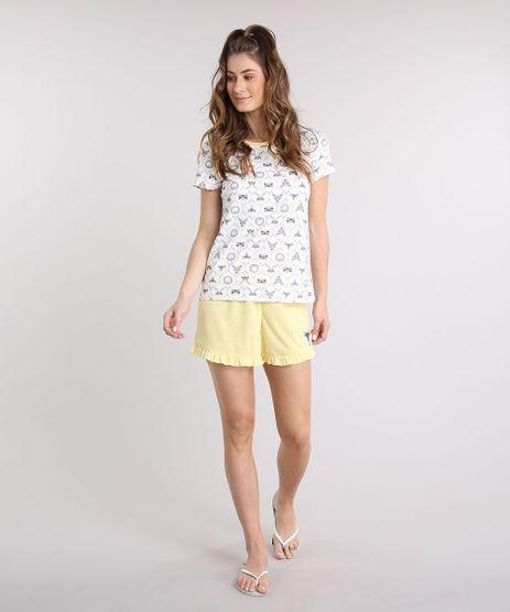 Pijama-Feminino-Estampado-de-Bichos-Manga-Curta-Off-White-9218822-Off_White_1