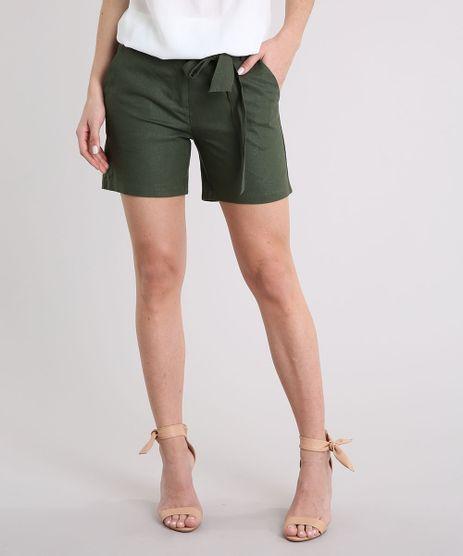 Short-Feminino-em-Linho-com-Faixa-Verde-Militar-8715441-Verde_Militar_1