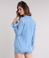 e234631810 Camisa Jeans Feminina Manga Sino Azul Claro - ceacollections