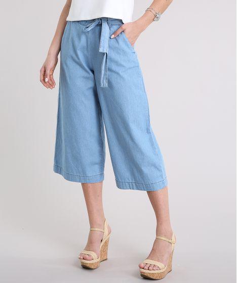 e39d61ca6c Calça Jeans Pantacourt Feminina com Faixa de Amarrar Azul Claro - cea