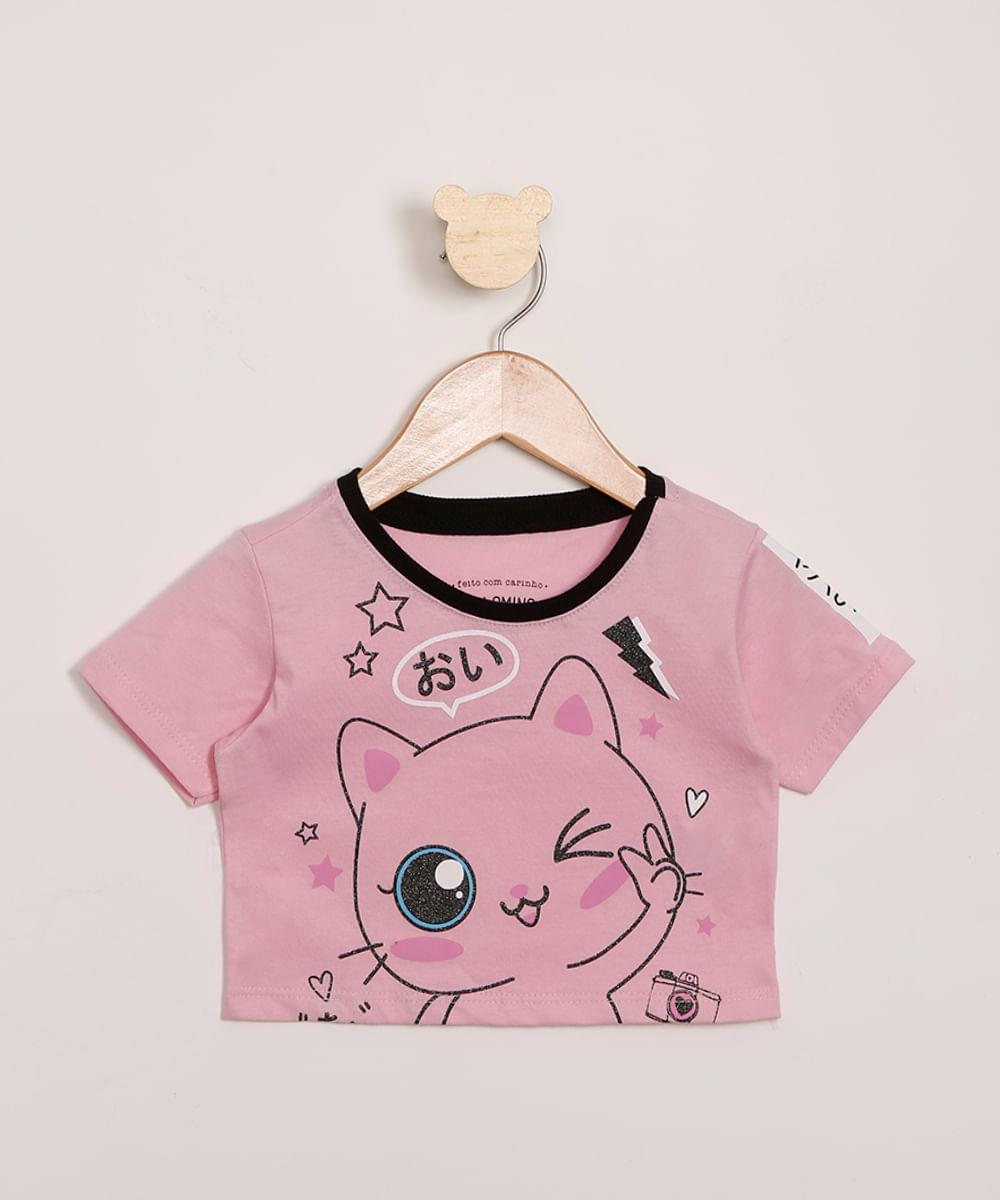 Blusa Infantil Cropped Gatinho com Glitter Manga Curta Rosa