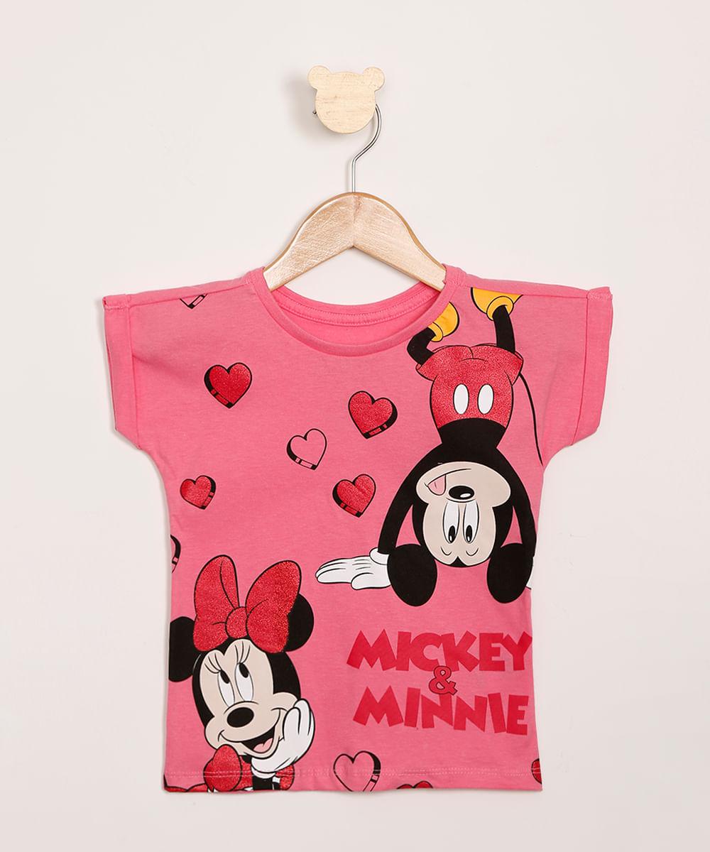 Blusa Infantil Mickey e Minnie com Glitter Manga Curta Pink