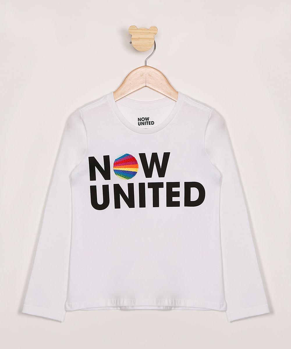 Blusa Infantil Now United com Bordado Manga Longa Off White